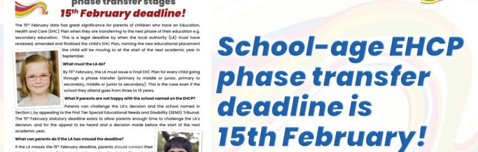 School-age EHCP phase transfer deadline is 15th February!